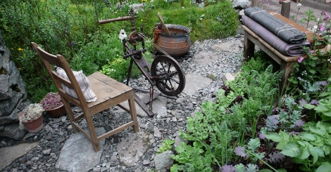 Spinning wheel in the Hebridean garden at Chelsea