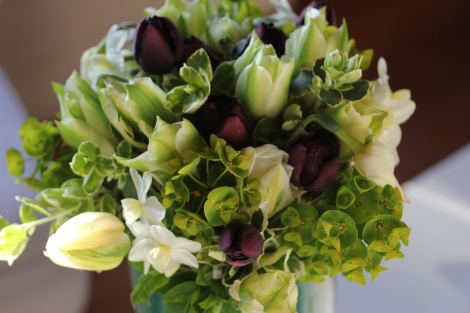 Spring flower bouquet with Narcissi and Tulips