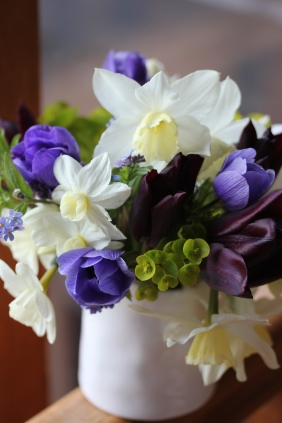 Spring bouquet with blue anemones