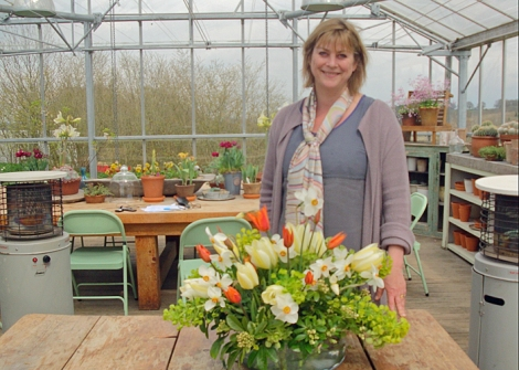 Sarah Raven in the greenhouse at Perch Hill