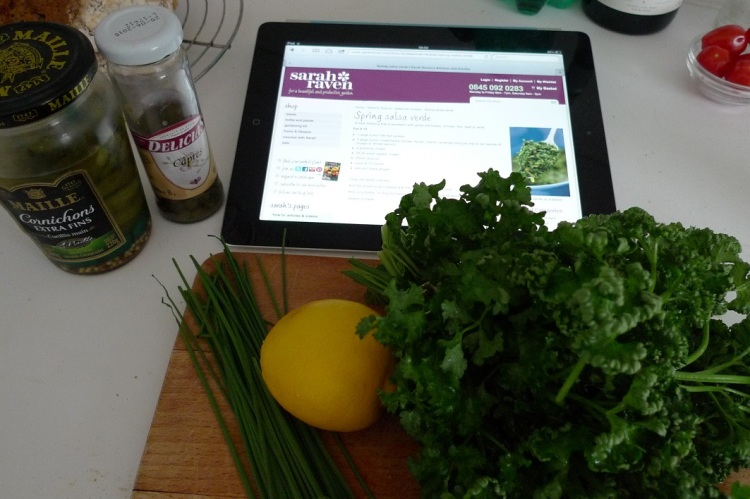 Looking up the recipe on the ipad