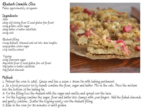 Rhubarb Crumble Slice Recipe Card