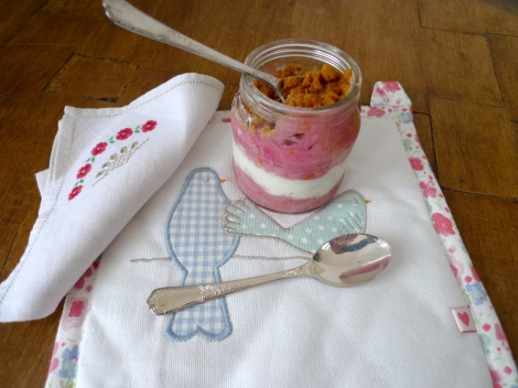 Rhubarb Pudding in a Jar